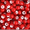 Glass Bead White Heart 33/0 Red